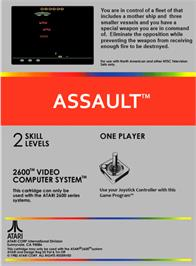Box back cover for Assault on the Atari 2600.