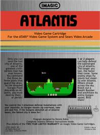 Box back cover for Atlantis on the Atari 2600.