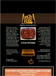 Box back cover for Bank Heist on the Atari 2600.