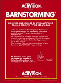 Box back cover for Barnstorming on the Atari 2600.