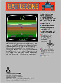 Box back cover for Battlezone on the Atari 2600.