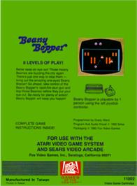 Box back cover for Beany Bopper on the Atari 2600.