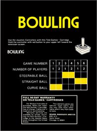 Box back cover for Bowling on the Atari 2600.