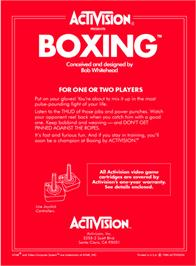 Box back cover for Boxing on the Atari 2600.