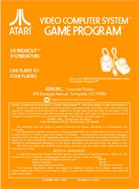 Box back cover for Breakout on the Atari 2600.