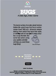 Box back cover for Bugs on the Atari 2600.