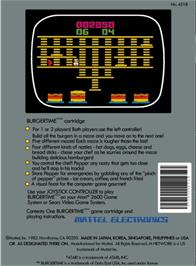 Box back cover for BurgerTime on the Atari 2600.