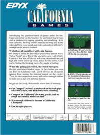 Box back cover for California Games on the Atari 2600.