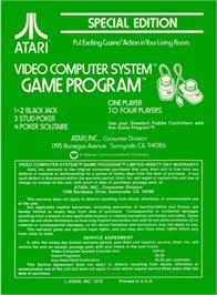 Box back cover for Casino on the Atari 2600.