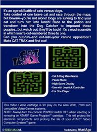 Box back cover for Cat Trax on the Atari 2600.