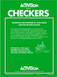 Box back cover for Checkers on the Atari 2600.