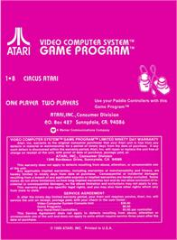 Box back cover for Circus Atari on the Atari 2600.