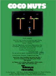 Box back cover for Coco Nuts on the Atari 2600.