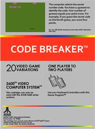 Box back cover for Codebreaker on the Atari 2600.