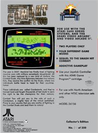 Box back cover for Combat Two on the Atari 2600.