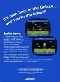 Box back cover for Cosmic Commuter on the Atari 2600.