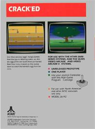 Box back cover for Crack'ed on the Atari 2600.