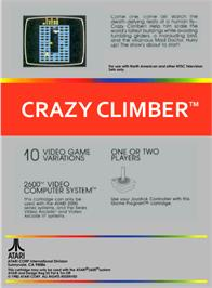 Box back cover for Crazy Climber on the Atari 2600.