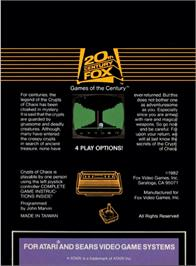 Box back cover for Crypts of Chaos on the Atari 2600.