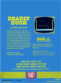 Box back cover for Deadly Duck on the Atari 2600.