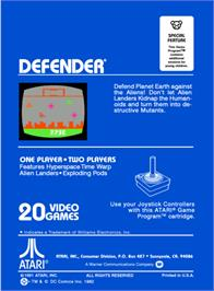 Box back cover for Defender on the Atari 2600.