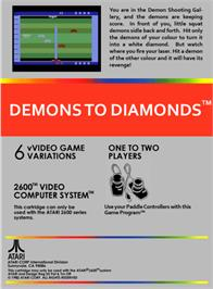 Box back cover for Demons to Diamonds on the Atari 2600.