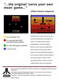 Box back cover for Dig Dug on the Atari 2600.