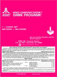Box back cover for Dodge 'Em on the Atari 2600.