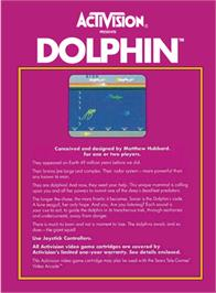 Box back cover for Dolphin on the Atari 2600.