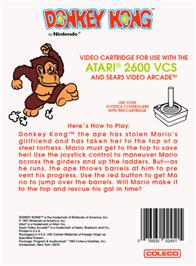 Box back cover for Donkey Kong on the Atari 2600.