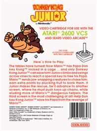 Box back cover for Donkey Kong Junior on the Atari 2600.