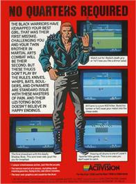 Box back cover for Double Dragon on the Atari 2600.