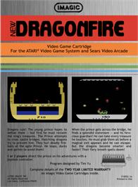 Box back cover for Dragonfire on the Atari 2600.