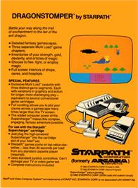 Box back cover for Dragonstomper on the Atari 2600.