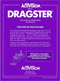 Box back cover for Dragster on the Atari 2600.