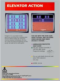 Box back cover for Elevator Action on the Atari 2600.