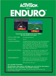 Box back cover for Enduro on the Atari 2600.
