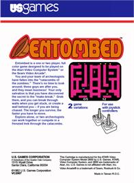 Box back cover for Entombed on the Atari 2600.