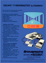 Box back cover for Escape from the Mindmaster on the Atari 2600.