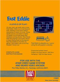Box back cover for Fast Eddie on the Atari 2600.