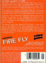 Box back cover for Fire Fly on the Atari 2600.