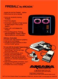 Box back cover for Fireball on the Atari 2600.