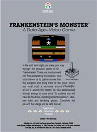Box back cover for Frankenstein's Monster on the Atari 2600.