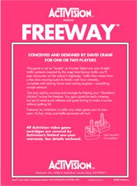 Box back cover for Freeway on the Atari 2600.
