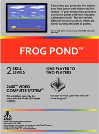 Box back cover for Frog Bog on the Atari 2600.