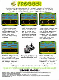 Box back cover for Frogger on the Atari 2600.