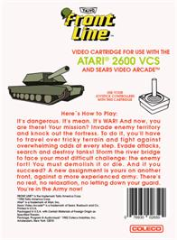 Box back cover for Front Line on the Atari 2600.