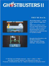 Box back cover for Ghostbusters II on the Atari 2600.