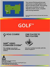 Box back cover for Golf on the Atari 2600.