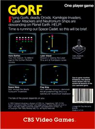 Box back cover for Gorf on the Atari 2600.